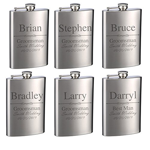 Top Shelf Flasks Personalized Custom Engraved 8oz Stainless Steel Groomsman Gift Flasks for Weddings, True Metal Etching Lasts a Lifetime, Set of 6