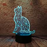 Nachtlichter 3D Cat 7 Farbwechsel Led Nachtlicht Illusion Schreibtisch Kind Kind Schlafzimmer Zuhause Bester Freund Und Urlaubsgeschenk