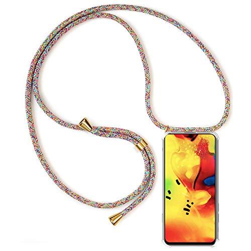 Funda Colgante con Cuerda para Colgar Samsung Galaxy S5 - Carcasa Transparente de TPU Suave Silicona - con Cordon para Llevar en el Cuello [ Anti-Choque] [Anti-rasguños], Arco Iris