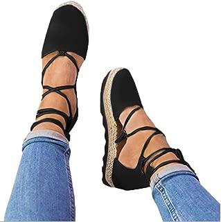 Womens Strap Sandals Flat,Vanvler Ladies Lace Up Espadrilles Chunky Cloth Shoes