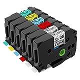 Anycolor kompatible Schriftband als Ersatz für Brother TZE 12mm 0.47 Tape, 6X TZ-131-731, Schwarz...
