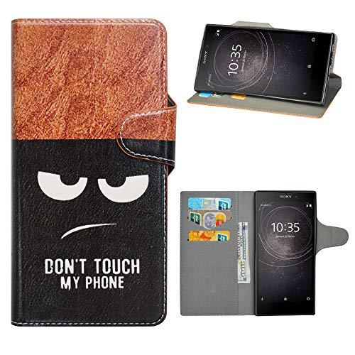 HHDY Sony Xperia L2 Cover, Flip Wallet Case PU Pelle con Carte Slot Credito Portafoglio Supporto Stand Schema Custodia per Sony Xperia L2,Don't Touch