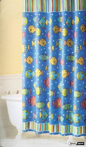 Children's bathroom fish shower curtain