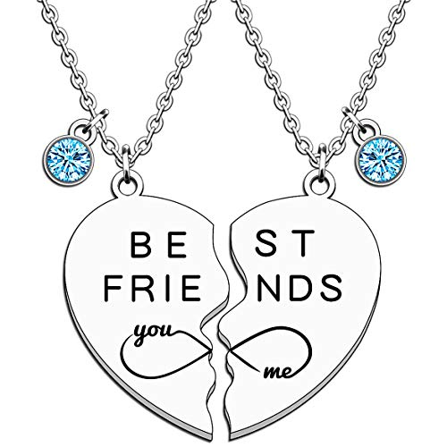 JMIMO 2 Pcs Necklace for Best Friend Stainless Steel Pendant Friendship Jewellery for Women Graduation Birthday Christmas