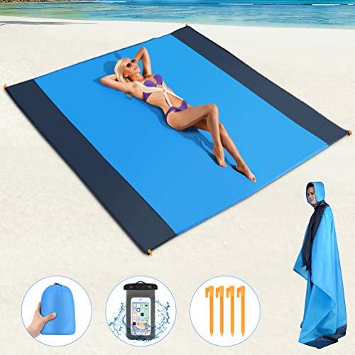 RUNACC Picknickdecke Tragbare Stranddecke Wasserdicht Strandmatte Sandabweisende Campingdecke mit Wasserdichter Handytasche und 4 Befestigung Ecken für Strand, Campen, Wandern und Ausflüge(190*200CM)