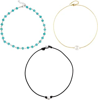 Gold Chain Choker Necklace with Agate Opal Stone Dainty Black Beaded Collar Necklaces for Women Girls