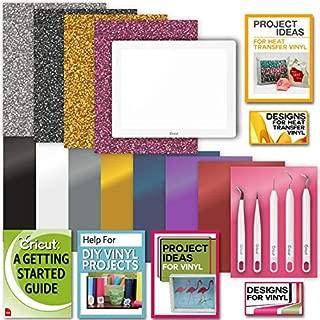 Cricut BrightPad Bundle: LightBox with Glitter Iron-On, Premium Vinyl, Essential Weeder Kit