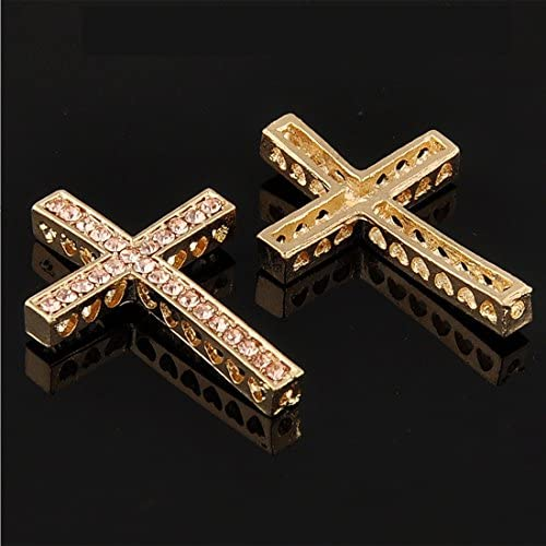 RUBYCA 5pcs Cross Sideway Metal Connector Bead DIY Shamballa Bracelet Gold Color Champagne Crystal product image