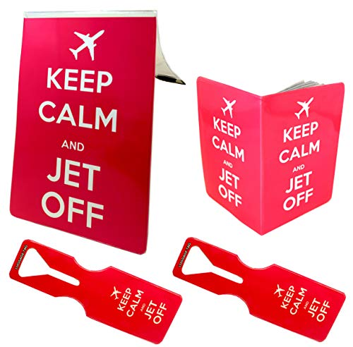 Keep Calm Jet Off Pink 1x A5 Document Cover + 1x Passport Cover + 2X Luggage Tags (Pack of 4 Set) Holder Organiser Wallet Velcro Flap Pouch Credit ID Ticket Debit Case Luggage Name Address Gift PVC