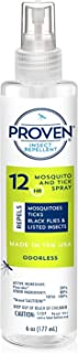 Proven 12 HR Insect Repellent Spray – Odorless, 6oz; Protects Against Mosquitoes, Ticks and Flies; DEET Free, Non-Toxic; Safe for Children; Made in USA