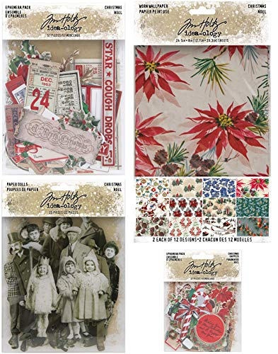 Tim Holtz 2020 Holiday -'Christmas' Worn Wallpaper, Paper Dolls, Ephemera & Snippets - 4 Items