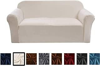 Argstar Velvet Plush Sofa Covers for Loveseat, Elastic Fabric Slip Cover for Couch and Love Seat, Cream White