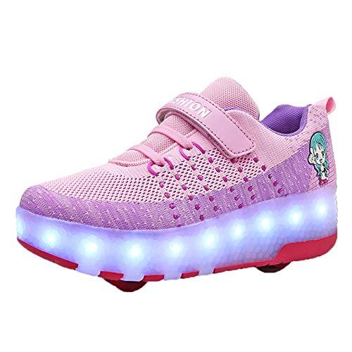 Enfants LED Double Roue Chaussures de Sport Lumineuses garçons et Filles Chaussures de Patinage USB Charge Chaussures Lumineuses Chaussures de Sport en Plein air
