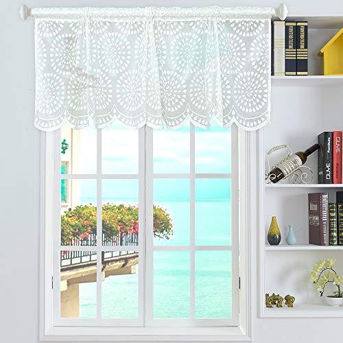 Festnight Volant Regentropfen Stil Kurze Gardinen Stange Tasche Mesh Fenster Gardinen für Küche Balkon Hause 18