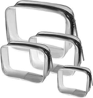 HUJK PVC化粧ポーチ 透明 ビニールポーチ 透明化粧ポーチ 機能的 大容量 化粧品収納 小物入れ 普段使い 出張 旅行 メイク ブラシ バッグ 化粧バッグ 4件 セット