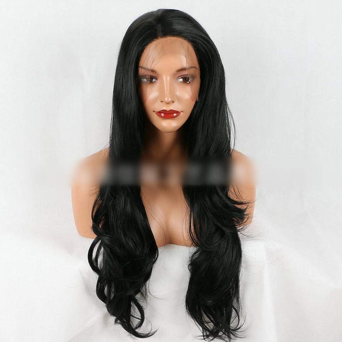 形式妖精署名BOBIDYEE ナチュラルブラックフロントレースウィッグ人工毛人工短髪レディースウィッグコンポジットヘアレースウィッグロールプレイングウィッグ (色 : 黒)