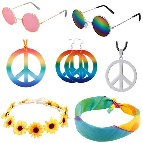 metagio 7 piezas Hippie Kostüm Set, Retro Vintage gafas arco iris símbolo de la paz collar Sonnenblumen Flores Diadema Dye Stirnband Hipppy Ankleiden para 60 años 70 temática Party o Halloween
