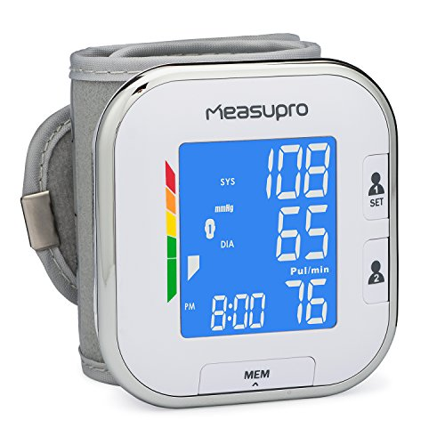 Best Deals! MeasuPro Portable Automatic Wrist Blood Pressure Monitor with Heart Rate Meter, Hyperten...