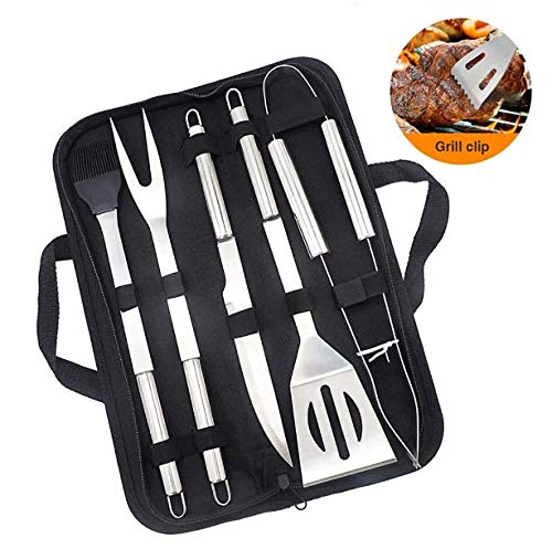 ZYBKB 5-Piece Stainless Steel Grill Tool Sets,Barbecue Accessories with Storage Case,Shovel, Knife, Clip, Fork, Sauce Brush - Grilling Utensils The Best Choice for Christmas