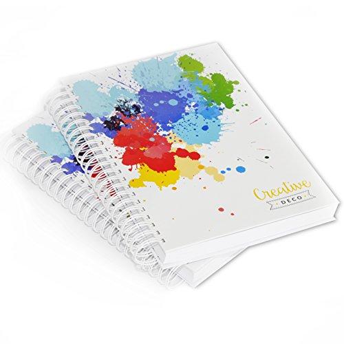 Creative Deco 2 x A4 Skizzenbuch Ringbuch Zeichenblock | 400 Seiten Insgesamt | 170 g/m² Fester Einband | Album Leeres Buch Kraftpapier Malblock Zeichenbuch Zeichenpapier