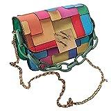 Lingge Bolsos de Hombro para Mujeres Retro Vintage Ladies Moda Bolso Hit Color Cintas Decoración Color Bolsos Damas Bolsa de Hombro PVC Moda Colorido Graffiti Embrague Tote Monedero consistent