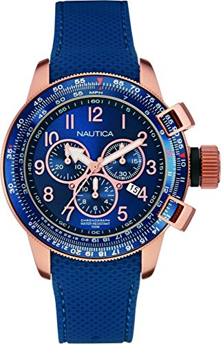 Nautica Herren Chronograph Quarz Uhr mit Gummi Armband NAI28500G