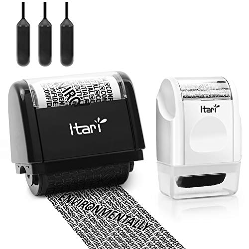 Identity Theft Protection Roller Stamp for Id Blockout,Privacy Confidential and Address Blocker, Confidential Roller Stamp (Black and White Security Stamps Combination)