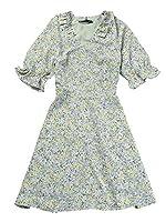 Allegra K ワンピース ドレス Vネック 花柄 フローラル 半袖 レディース グリーン S