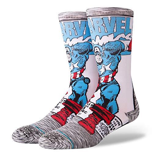 Stance Men's M546D18CAA Captain America Comic Sock, Grey - Large