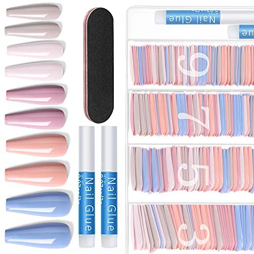 500PCS Nails for Women Press On Nails - Ejiubas Coffin Nail Tips and Glue Solid Color False Nails 4PCS Nail Glue for Fake Nails 1PC Nail File with Case Nail Salons and DIY Nail Art(Blush Tones)