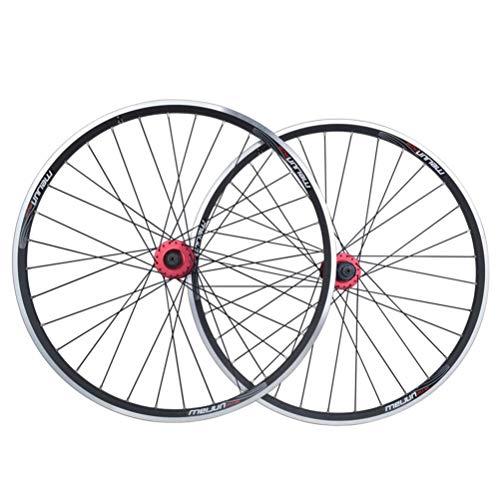 CHICTI Fahrradradsatz 26in Doppelwandiger Leichtmetallrand V/Scheibenbremse MTB Fahrradräder 32H QR 7-10 Geschwindigkeit Kugellager Kassettennaben