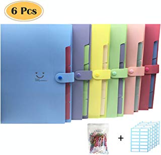 Drakia 6 Pack Expanding File Folders with 5 Pocket Letter A4 Paper Accordion Document Organizer Set 168 Pcs File Folder Labels and 100Pcs Colored Paper Clip for School Office Home