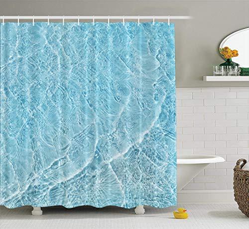 LILYMUA Water Wave Shower Curtain Blue Sea Sand Beach Shiny Ocean 72x78 Inch Extra Long Cute Fabric Bathroom Shower Curtain Sunshine Rustic Waterproof Polyester Cloth Bath Curtain for Bathroom Decor
