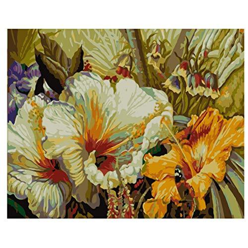 Wxswz Oplichtende trompet bloem schilderij DIY by nummers Wall Art Picture acrylverf voor thuisdecoratie 40 x 50 cm zonder lijst