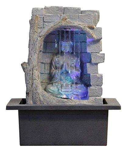 Zen'Light Buda Cortina De Agua - Fuente De Polirresina Gris/Negro, 21X 21X 25Cm