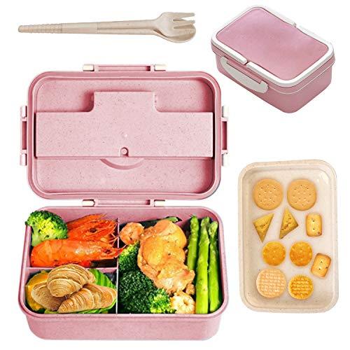 AMOE Caja Bento con Cubiertos, Lunch Box Infantil, Fiambreras con 3 Compartimentos, para Escuela de Trabajo para niños y Adultos, Apto para microondas, con Palillos y Cuchara (Rosado)