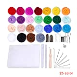GFCGFGDRG 25 Colori feltro Strumenti filato Roving Set Needle Felting Starter Kit Foam Mat Arts Crafts FAI da te feltro