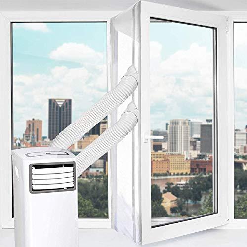 Fensterabdichtung für Mobile Klimageräte, Uong 400CM Fensterabdichtung Dachfenster, mit Klebeband und Reißverschluss - Keine Bohrlöcher Erforderlich