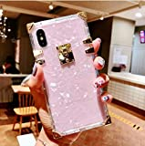 Compatible for iPhone 6 / 6s /iPhone 7 /iPhone 8 Case ,BABEMALL Luxury Crystal Square Sparkle Light Pink Shell Transparent TPU Phone Metal Corner Case (Shell Pink,)