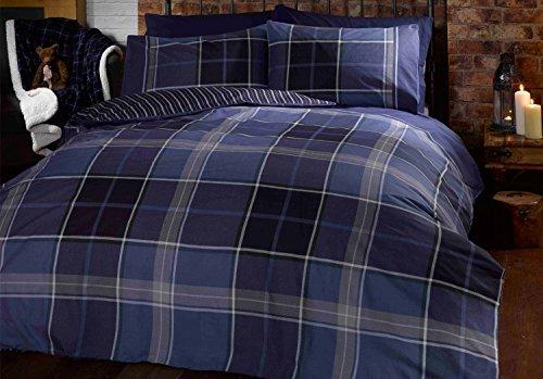 Rapport Blue Argyle Tartan Checked Duvet Cover Quilt Bedding Set, Blue, King Size - Bedroom Bed Linen by Rapport