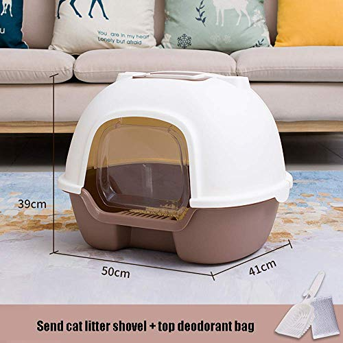 Kyman Cat Flip Litter Tray Covered, Katzenklo Große Katze, Katzentoilette, Katzentoilette WC Box, Jumbo mit Kapuze Cat Litter Tray mit Deckel, große Wurf Fach Enclosed Pet Litterbox (Color : Coffee)