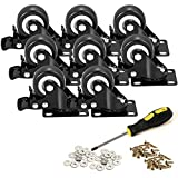 BOSGEOT 2' Caster Wheels, Heavy Duty Casters with Brake Set of 8, Locking Casters with 360 Degree No Noise Polyurethane (PU) Wheels, Swivel Plate Castors Pack of 8