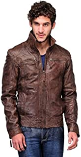 Teakwood Men's Lambskin Leather Outerwear Jacket with Zip Closure