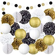 EpiqueOne 22-Piece Party Decoration Kit – Hanging Paper Lanterns, Honeycomb Balls and Tissue Paper Pom Poms for Special Occasions – Easy to Assemble – Colors: Black, Gold and White