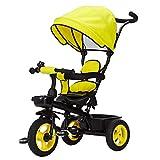 Cochecitos Triciclo Ride-on para niños para bebés con toldo Seguro para el Sol, Almacenamiento en la Parte Posterior y manija telescópica Ajustable para Padres Carrito Bebé (Color : Yellow)
