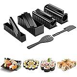 10piezasKit para Hacer Sushi,DIY Sushi Set, Sushi Maker Set con Easy Maker ,con 8 Formas de Molde de Rollo de Arroz para Sushi ,Fácil de Limpiar y Usar,Cocina Herramientas de Sushi Black