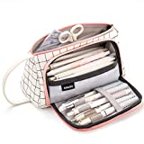 EASTHILL Large Capacity Colored Canvas Storage Pouch Marker Pen Pencil Case Simple Stationery Bag Holder For Middle High School Office College Student Girl Women Adult Teen Christmas Gift White Plaid