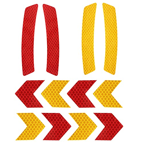 10L0L Golf Cart Front Rear Side Reflex Reflector Strips, Stick-On Sticker Decals, Red + Amber