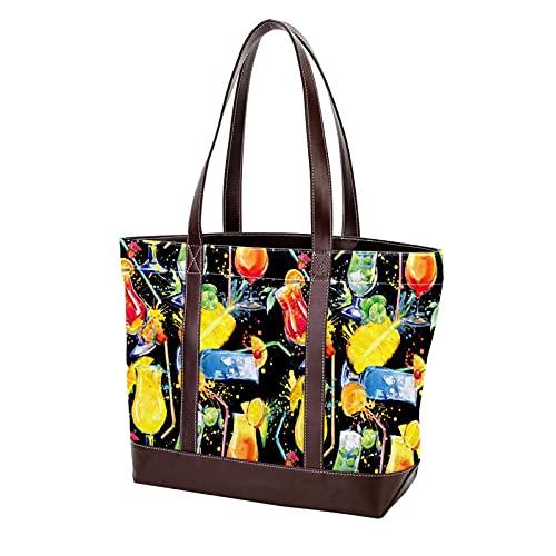 NaiiaN Boisson dété jus de fruits alcool cocktail coloré sacs à bandoulière sac fourre-tout sac à main shopping léger sangle sacs à main pour mère femmes filles dames étudiant