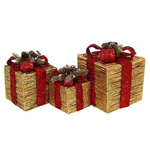 AMDDM Silueta de Caja de Regalo con 35 Luces LED Blancas cálidas y decoración navideña de oropel (Gold)